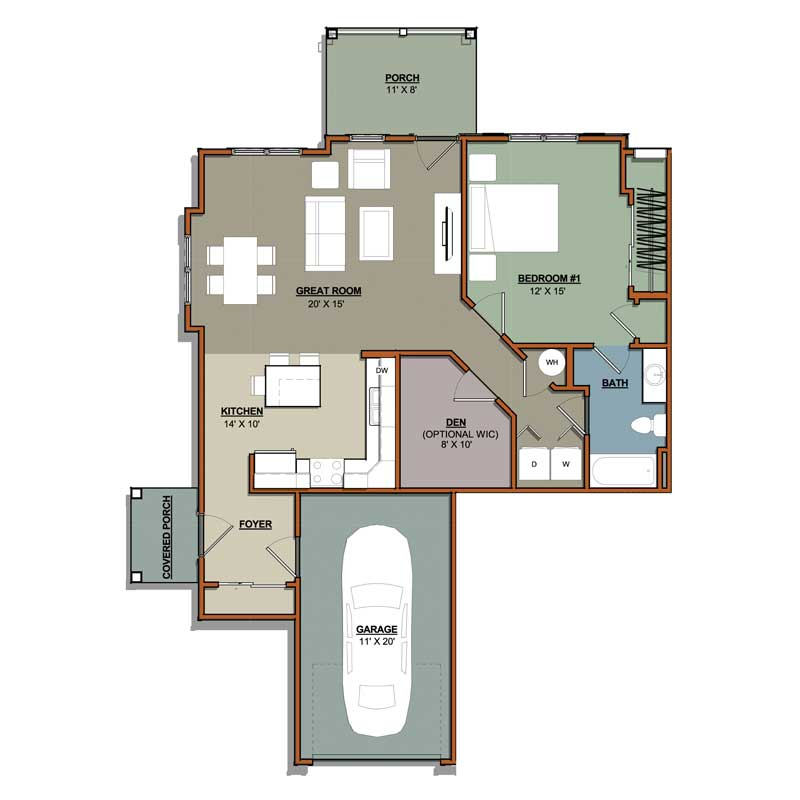 1 Bed 1 Bath Apartments: 1 Bedroom Plus Den 1 Bath