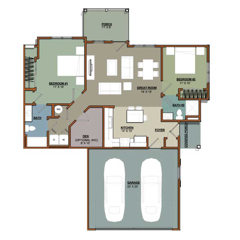 2 Bedroom Plus Den 2 Bath Portscape Apartments